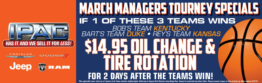Ford coupons oil change and tire rotation