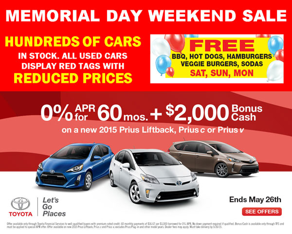 Memorial Day Car Deals: 2015 Toyota Memorial Day Sale San Jose CA