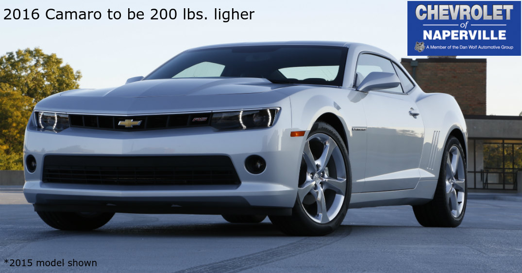 how much less will the 2016 Camaro weigh?