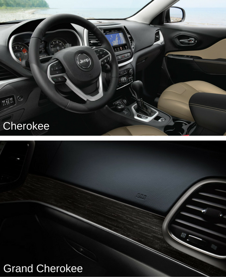 differences between 2017 jeep cherokee and grand cherokee interior