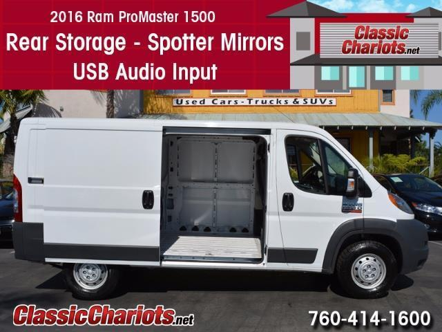 Used Passenger Vehicle Near Me - 2016 Ram ProMaster 1500 Cargo Van with Rear Storage, Spotter Mirrors, and USB Input for Sale in San Diego - Stock # 13888R