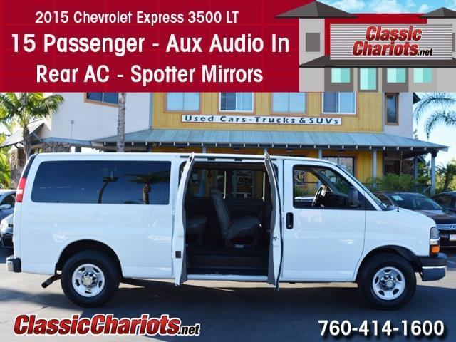 Used Passenger Van Near Me - 2015 Chevrolet Express 3500 LT 15 Passenger with 15 Passenger, AUX Input, Rear AC and Spotter Mirror for Sale in San Diego - Stock # 13936R