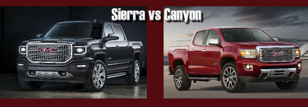 compare the 2016 gmc sierra vs 2016 gmc canyon. Black Bedroom Furniture Sets. Home Design Ideas