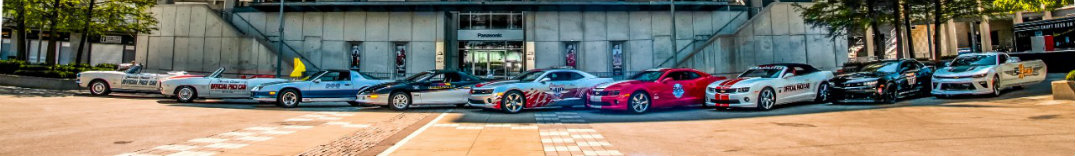 each of the Camaro pace cars for the Indy 500 throughout history