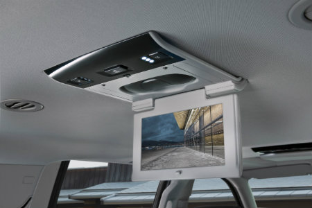overhead rear entertainment screen from the 2016 GMC Yukon large SUV