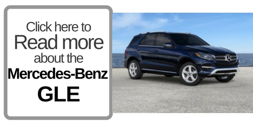 """Button that says """"Click here to Read more about the Mercedes-Benz GLE"""" with a picture of the GLE on the right"""