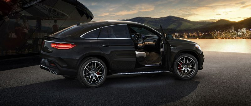 2018 Mercedes-AMG GLE Coupe parked by the edge of a river at sunset