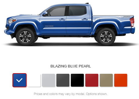 2016 Toyota Tacoma Exterior and Interior Color Options