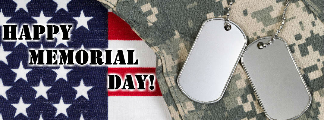 Close Up of American Flag, Army Camouflage and Dog Tags