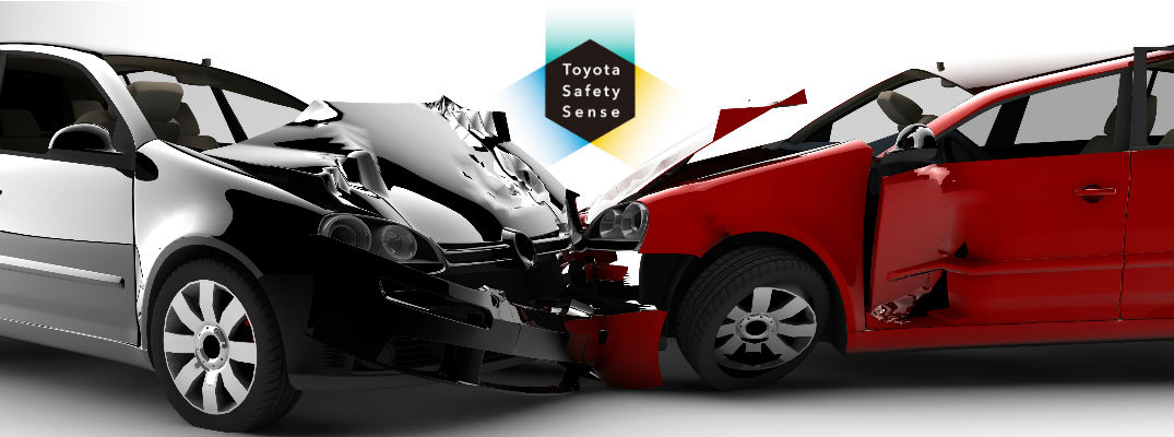 Black and Red Car in Crash with Toyota Safety Sense Logo on White Background