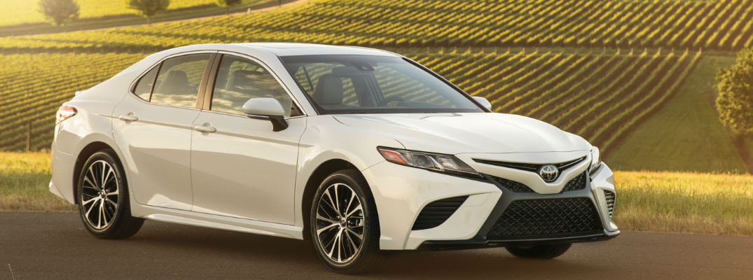 White 2018 Toyota Camry Front Exterior in Front of Wine Vineyard