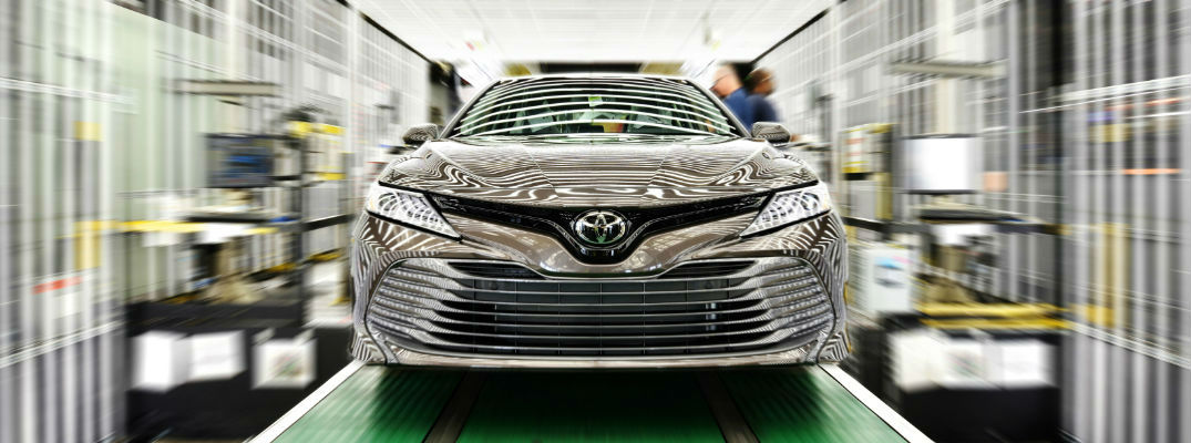 Silver 2018 Toyota Camry on Assembly Line