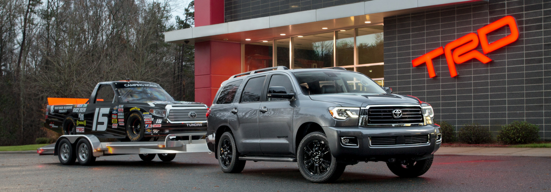 2018 Toyota Sequoia TRD Sport towing a trailer