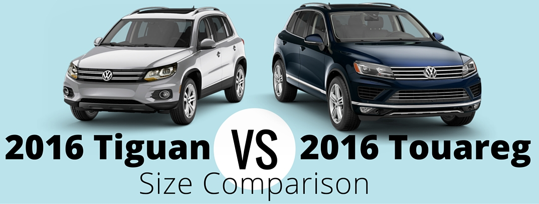 Compare the size difference between the 2016 Tiguan and the 2016 Touareg