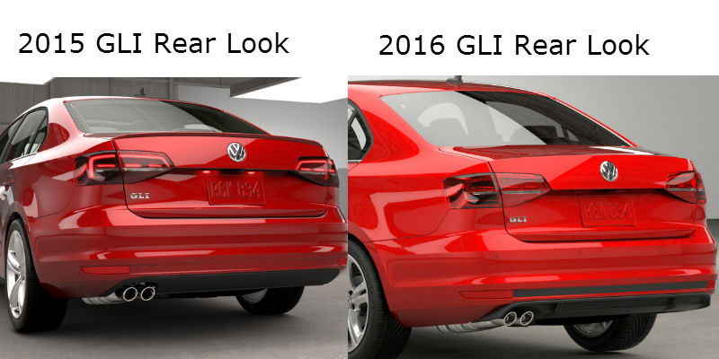 Jetta GLI model year comparison rear look