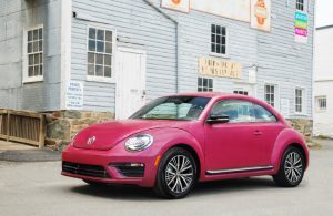 2017 VW #PinkBeetle in front of house
