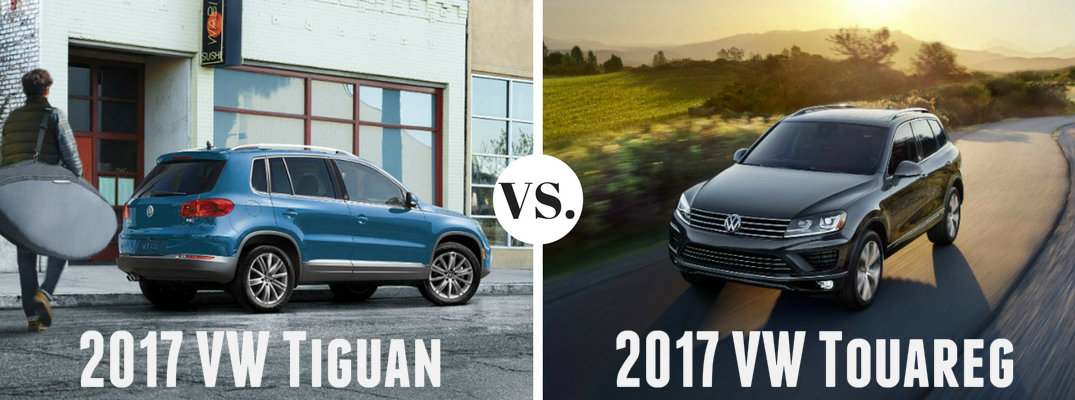 What's the difference between the 2017 VW Tiguan and VW Touareg?