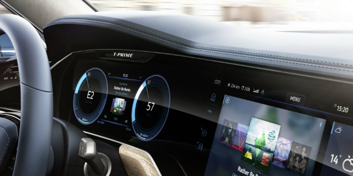 vw ti=prime concept gte active info display infotainment curved interaction area