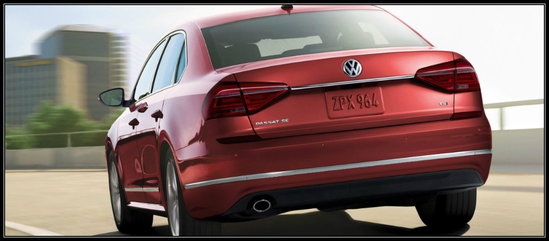 rearview of vw passat in red