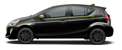 Black Sand with Electric Lime Prius C