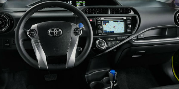 2016 Toyota Prius C Interior View of Steering Wheel and Front Dash in Black