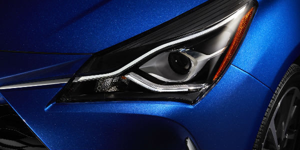 Headlight View of the 2018 Toyota Yaris with Blue Exterior Coloring
