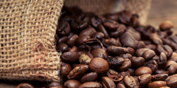 Bag of Coffee Beans Close Up