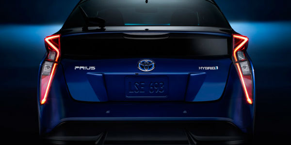 2017 Toyota Prius Rear End View of Taillights in Blue