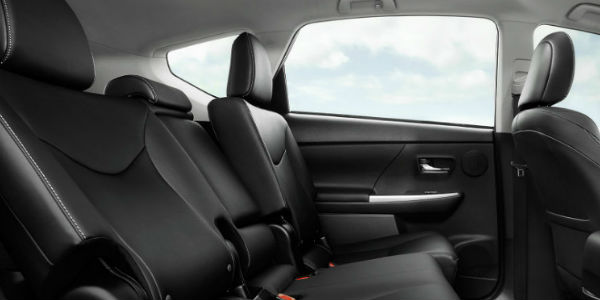 Interior View of Rear Seating in 2017 Prius V
