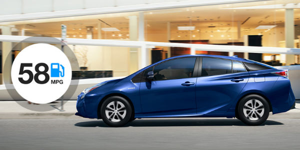2017 Toyota Prius Exterior View with 58 MPG Written in a Bubble in the Left Hand Corner