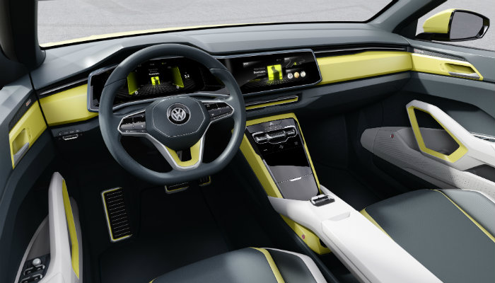 vw t-cross breeze interior features and design with touch sensitive buttons and surfaces