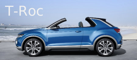 volkswagen t-roc exterior design featuers with removable retractable roof top