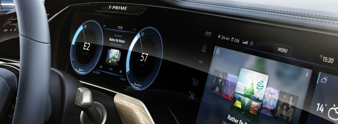 curved interaction area touchscreen displays in vw t-prime concept gte