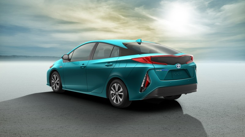 2017 toyota prius prime exterior rear blue green teal