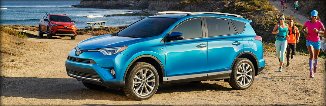 blue 2017 toyota rav4 front view