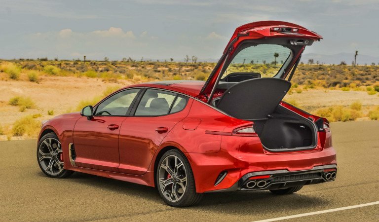 2018 Kia Stinger with hatchback open
