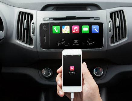 how can you hook up your phone to your car Couple of ways it can be done depending on your car stereo: - if your stereo has an aux in then use that - cable that plugs into the headphone socket on your phone on one end and into the aux on the other.