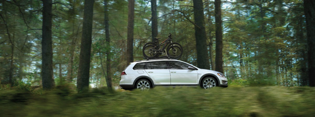 Technology Features of the 2017 Volkswagen Golf Alltrack Driving Through Forest
