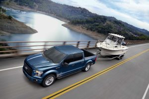 2017 Ford F-150 top down exterior while towing a boat_o