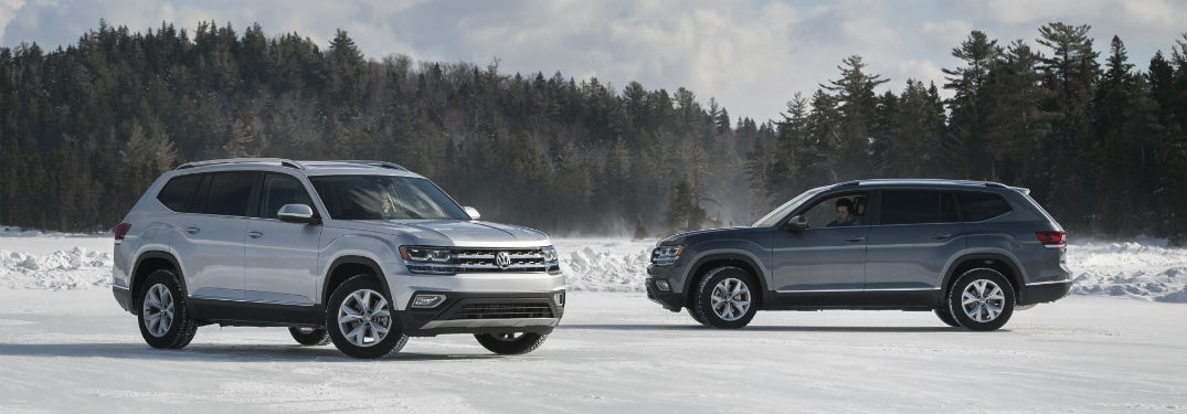 Driver's side exterior view of a grey 2018 Volkswagen Atlas
