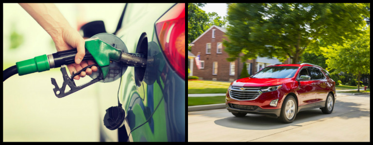 Collage Of Filling Up Gas Tank And Red 2018 Red Chevy Equinox