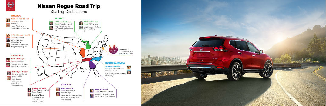 Nissan Rogue Trip 2017 SL trim crossover cross-country to New York for charity