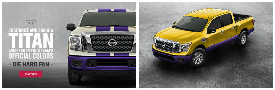 Nissan Die Hard Fan apps Titan pickup truck Customizer college color options