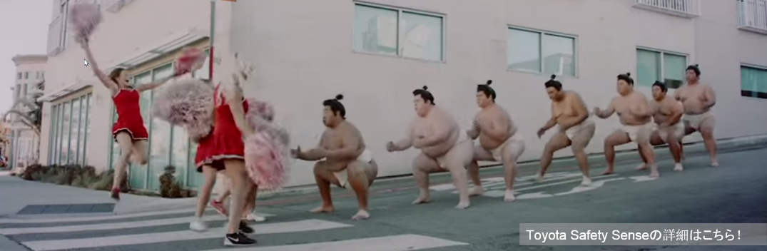Sumo Wrestlers Demonstrate Toyota Safety Sense on the Streets of LA