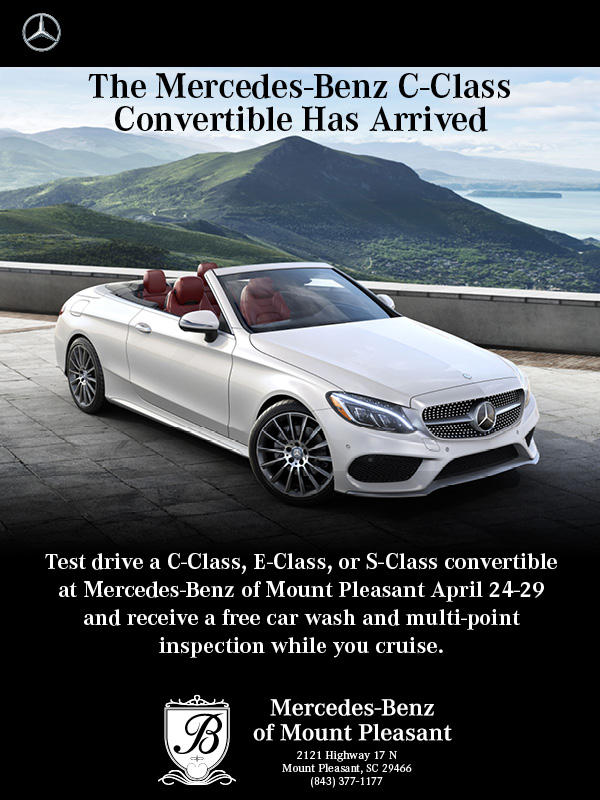 The c class convertible has arrived at mercedes benz of for Baker mercedes benz charleston sc