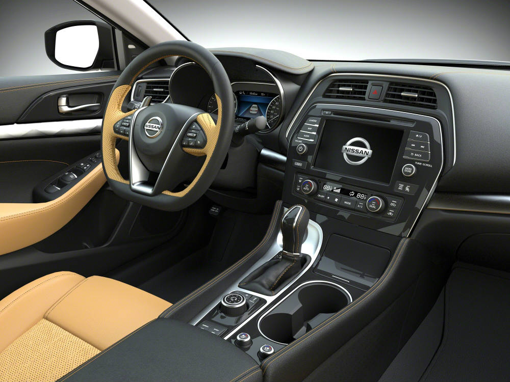 Elegant 2016 Nissan Maxima Black And Gold Interior View Of Steering Wheel And  Infotainment Nice Look