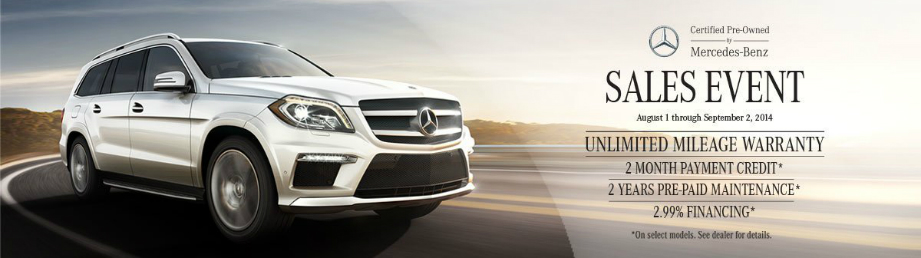Certified pre owned sales event going on now in north for Mercedes benz certified pre owned sales event