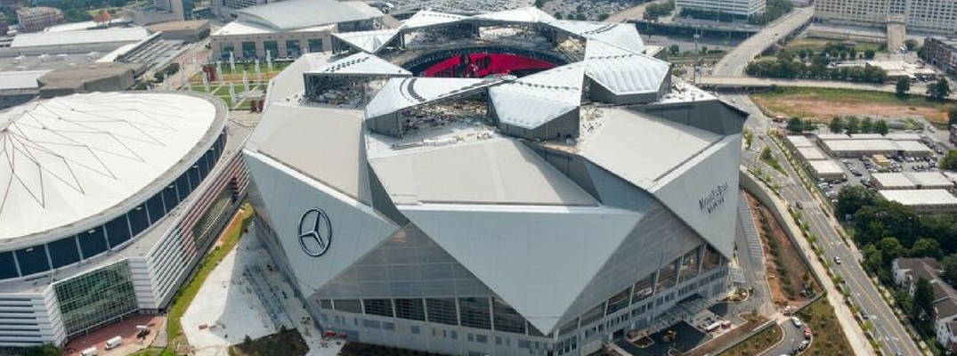 a glimpse at technology in falcons new Mercedes-Benz stadium