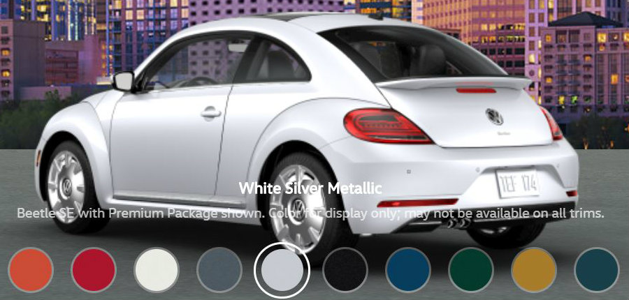 What are the Paint Color Options for the 2018 VW Beetle?