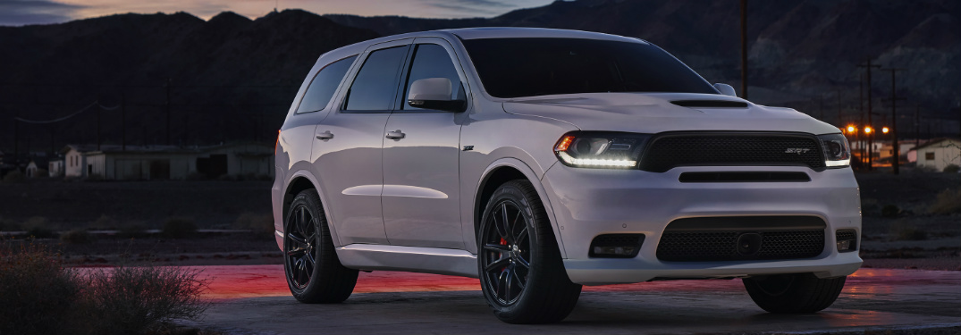 white 2018 dodge durango srt at night. Black Bedroom Furniture Sets. Home Design Ideas